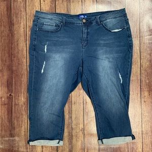 Royalty Distressed Denim Capris